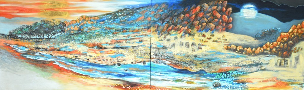 (SOLD COMMISSION)Sunrise then Moon Glow -The Days are Short - 80x130x2