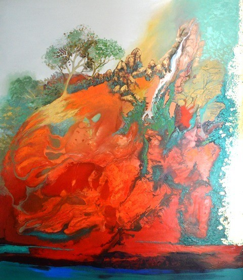 (SOLD) Water From the Mountain - 120x140cm - $7600 (gold leaf)