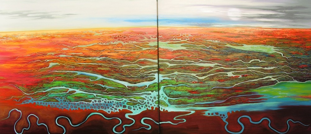 (SOLD)Let the Deserts Thirst no More - 91x80cm x2 Diptych $5800