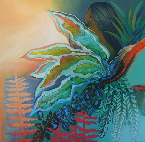 (SOLD)Nature Girl- 100X100cm $4500