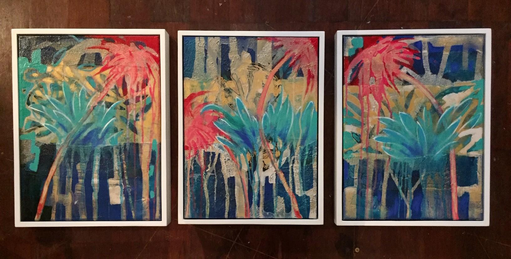 Sunset Palms1- 3 33x43cm each (framed)